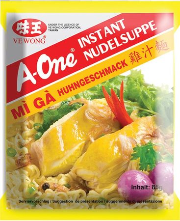 A-One [ 10x 85g ] Instant Nudelsuppe [ Huhngeschmack ]
