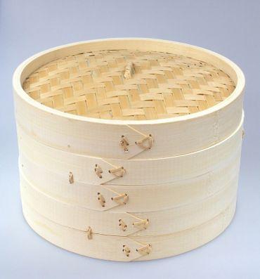 Bambusdämpfer 3-teiliges Set 30.5cm STABILE AUSFÜHRUNG Bamboo Steamer