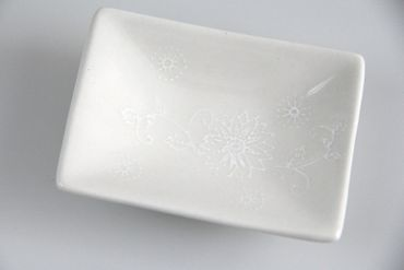 [ ELEGANT ] Snack & Dip-Schale 9 x 6,5 cm / cremeweiß mit floralem Design