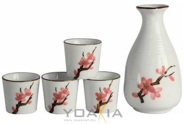[ SAKURA ] 5-teiliges Porzellan Sake Set  / Geschenk- Verpackung