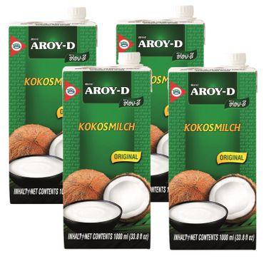[4x 1000ml] AROY-D Kokosmilch  Kokosnussmilch Cocosmilch Coconut Milk