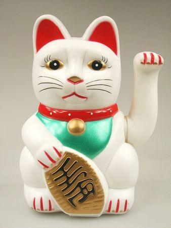 II. WAHL - 20cm Glückskatze ~ Winkekatze Maneki Neko ~ WEIß ~ Feng Shui Glücksbringer