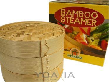 JADE TEMPLE 25cm Bamboo Steamer Set 3-tlg. [ 2 Körbe+1 Deckel ] Bambusdämpfer