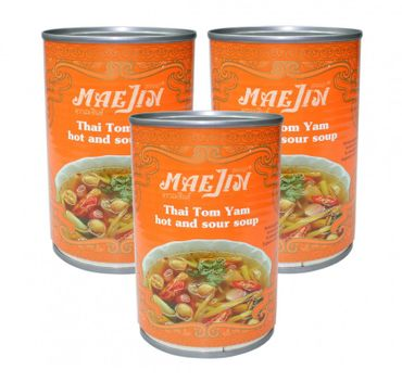 [ 3x 410ml ] MAEJIN Thailändische scharf/saure Tom Yum Suppe / Thai Hot & Sour Soup