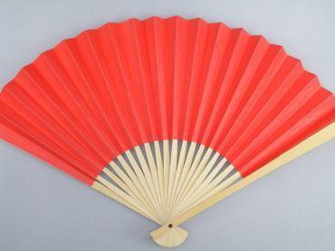2er Pack - Papierfächer auf Bambus- Holz [26cm x 34cm] uni rot, Fächer