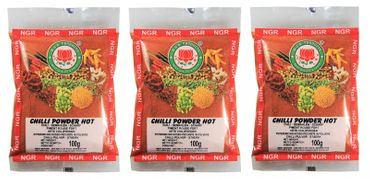 [ 3x 100g ] NGR Chili Pulver SCHARF / HOT Chilipulver