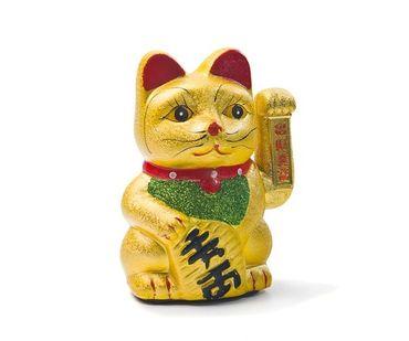 KERAMIK Glückskatze 17,5cm Winkekatze Maneki Neko ~ Feng Shui Glücksbringer