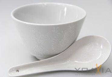 [ ELEGANT ] 4 Set [ 8 Teile ] Suppen- /Nudel- / Reis-Schale Ø 10 cm & Löffel
