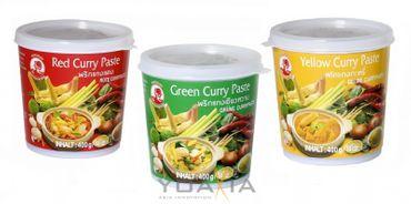 [ 3x 400g ] COCK Currypaste je 1x 400g Rote, Gelbe, Grüne Paste