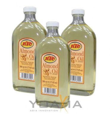 [ 3x 500ml ] KTC Mandelöl / Speiseöl und für die Körperpflege / PURE ALMOND OIL