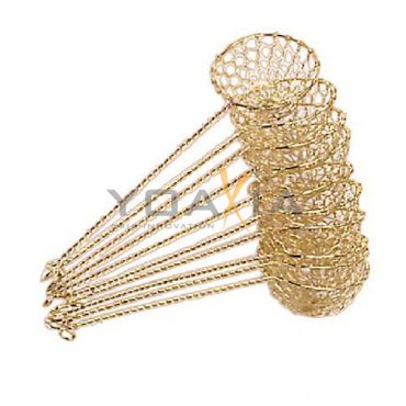 10x Fondue-Sieb Ø 6cm L 22cm, goldfarben, Sieblöffel für Feuertopf, Mongolentopf