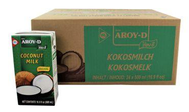 [ 24x 500ml ] AROY-D Kokosmilch Kokosnussmilch Cocosmilch, Coconut Milk KV