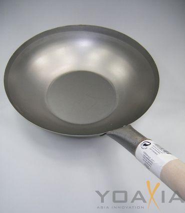 [ Wok Ø 33 cm flacher Boden ]  Asiatische Eisenpfanne / Küchen Wok / Pfanne KV