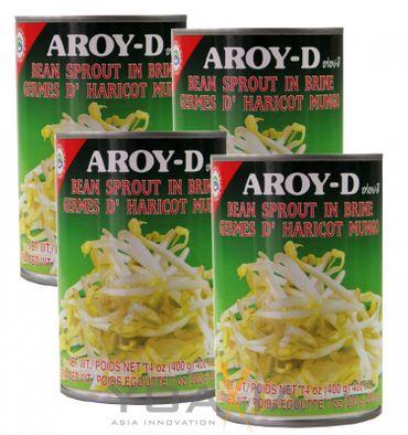 [ 4x 400g / 200g ATG ] AROY-D Mungbohnen Keimlinge Sprossen / Bean sprout