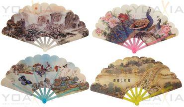 12er-Pack Handfächer [ 4 verschiedene Motive je 3x ] Fächer 24 cm x 42 cm