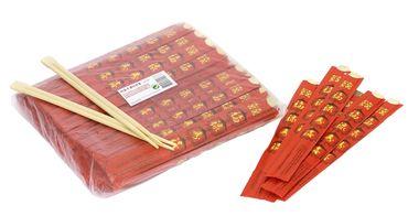 [ 100 Paar ] Einmal Essstäbchen aus Bambus 22cm einzeln verpackt DOUBLE HAPPINESS