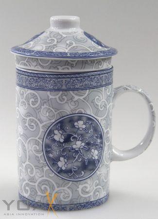 [ JASMINUM ] Teebecher mit Sieb & Deckel Ø 7,5cm H 14cm / Becher /  Mug / #7448