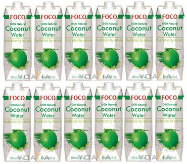 [ 12x 1 Liter ] FOCO Pures Kokosnusswasser / Kokoswasser Coconut Water 100% Natural
