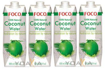 [ 4x 1 Liter ] FOCO Pures Kokosnusswasser / Kokoswasser Coconut Water 100% Natural