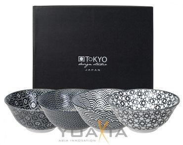 Japan Porzellan 4 Schalen - Set in SCHWARZ / WEIß  Ø 15.2cm  ToKYO Design #9786