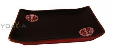 DOPPELGLÜCK [ rot/schwarz ] Essteller [ 17.2x11.5cm ] Sushi-Teller