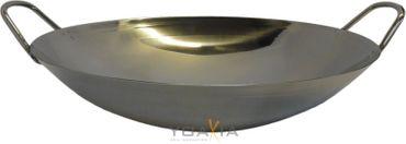 [ Edelstahl-Wok Ø 30,5cm runder Boden, Doppelgriff ] Asiatische Eisenpfanne /Wok