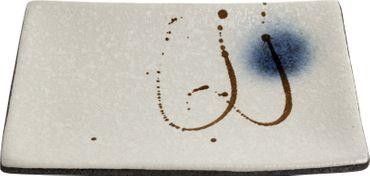OGAWA [ BACH ] Essteller [ 20x13.5 x3cm ] Sushi-Teller aus Keramik / Cremeweiß