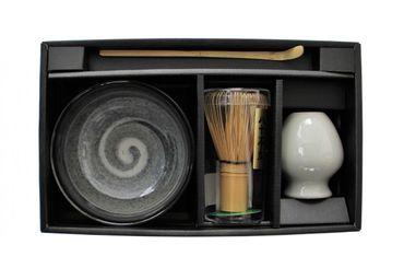 Matcha Set 4-teilig Schale [ Chawan ]  Bambusbesen + Halter / Bambuslöffel