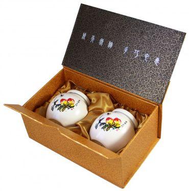 2er Set Matcha Töpfchen aus Keramik  [ Dekor Blume ]  Teedose / je 200ml