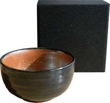 Matcha Teeschale / Tee Schale Schwarz-Rot [Chawan] Ø 12cm x Höhe 7cm  MADE IN JAPAN #946