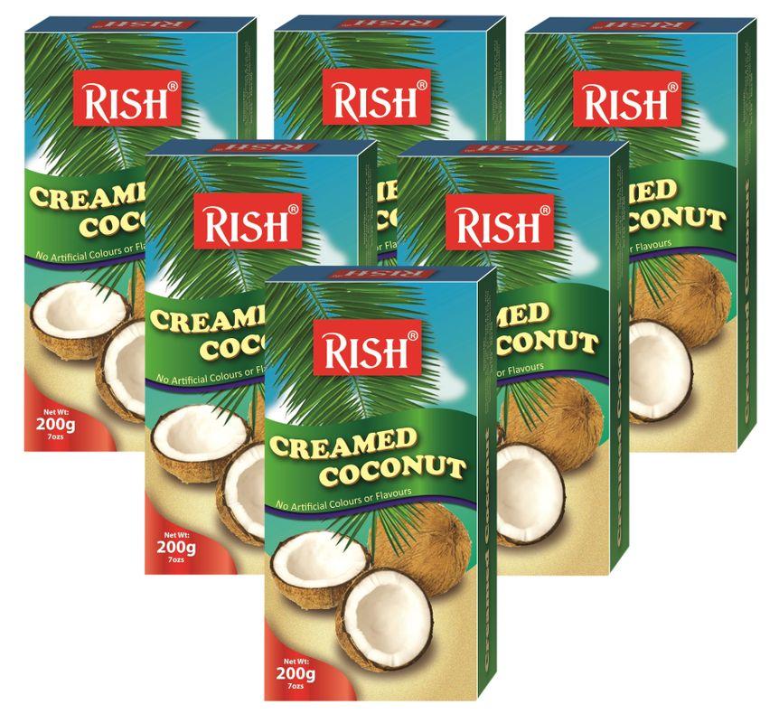 [ 6x 200g ] RISH 100% Pure Kokosnusscreme Kokoscreme Creamed Coconut