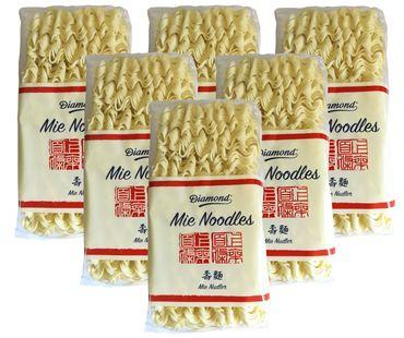 [ 6x 250g ] DIAMOND Mie Noodles, dünn / Mie Nudeln ohne Ei / Wok Nudeln