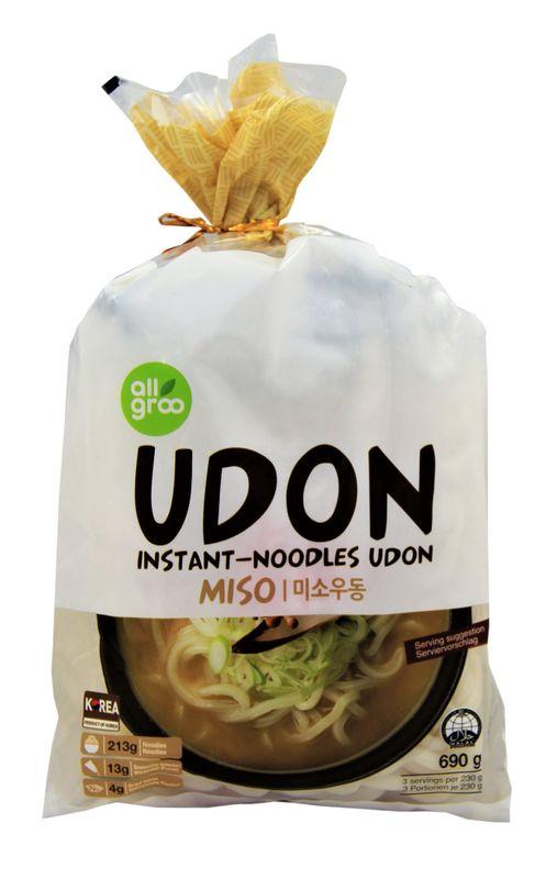 [ 690g ] ALLGROO Instant-Noodles Udon, Miso / Udon-Nudeln UDONG, Miso (3 Portionen je 230g)