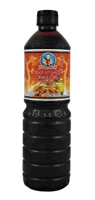 [ 1 Liter ] HEALTHY BOY BRAND Dunkle Sojasauce / Black Soy Sauce Orange Label
