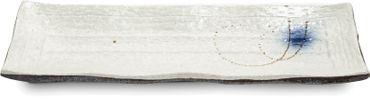 OGAWA [ BACH ] Essteller [ 33 x 11 H 3 cm ] Sushi-Teller aus Keramik / Cremeweiß