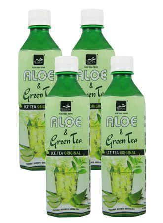 [ 4x 500ml ] TROPICAL Aloe Vera Getränk mit Grünem Tee / mit 20% Aloe / Aloe & Green Tea Drink