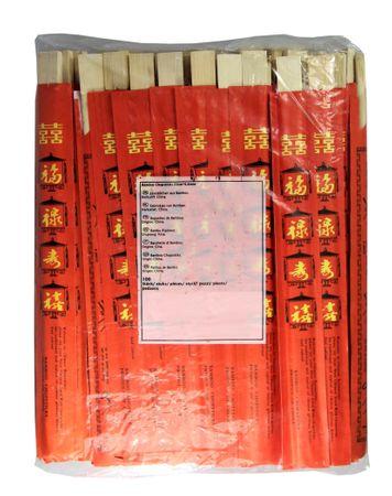 [ 100 Paar ] Einmal Essstäbchen aus Bambus 23cm einzeln verpackt mit rotem Umschlag