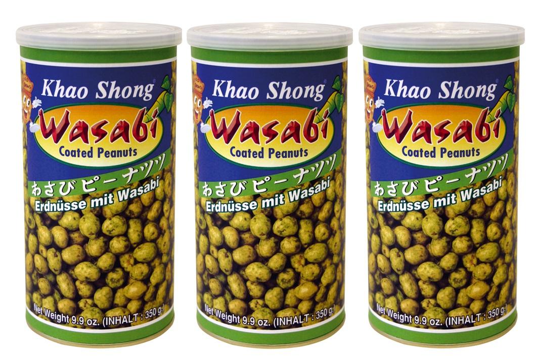 [ 3x 350g ] KHAO SHONG Erdnüsse mit Wasabi überzogen / Wasabi coated Peanuts