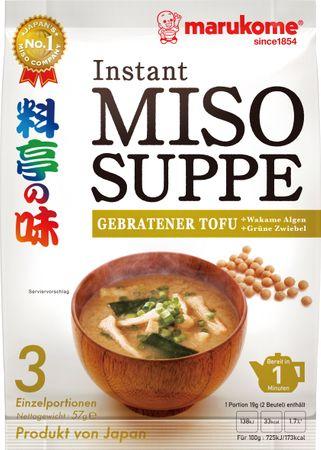MHD 18.06.2019 - [ 57g ] marukome Instant Miso Suppe GEBRATENER TOFU / Miso-Würzpaste + getrockneter, gebratener Tofu