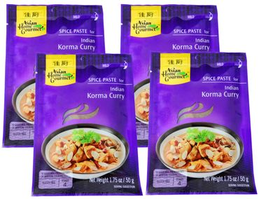[ 4x 50g ] ASIAN HOME GOURMET Würzpaste für indisches Korma Curry