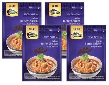 [ 4x 50g ] ASIAN HOME GOURMET Würzpaste für indisches Huhngericht mit Butter / Butter Chicken / Murgh Makhani