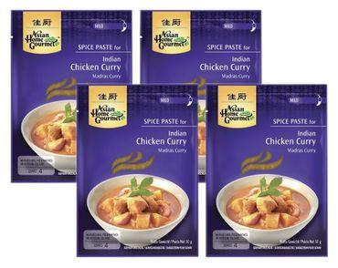 [ 4x 50g ] ASIAN HOME GOURMET Würzpaste für Indisches Madras Curryhuhn