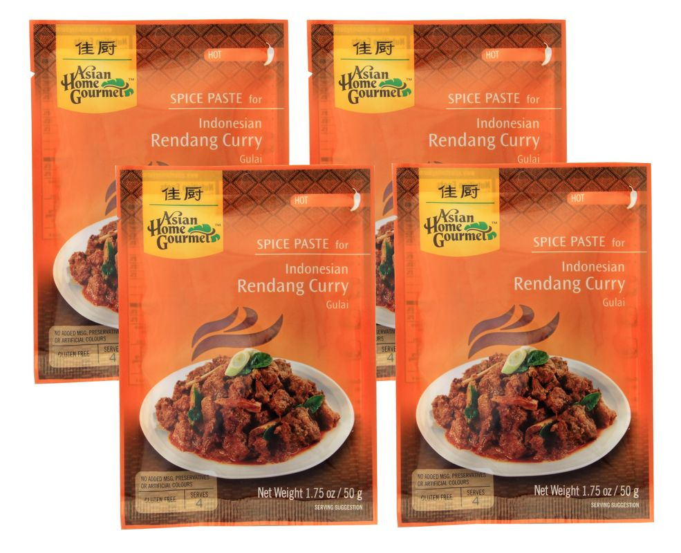 [ 4x 50g ] ASIAN HOME GOURMET Würzpaste für Indonesisches Rendang-Currygericht Gulai