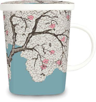 [ MANDELBLÜTE ] chinesisches Porzellan / Teebecher + Sieb & Deckel / Becher / Mug