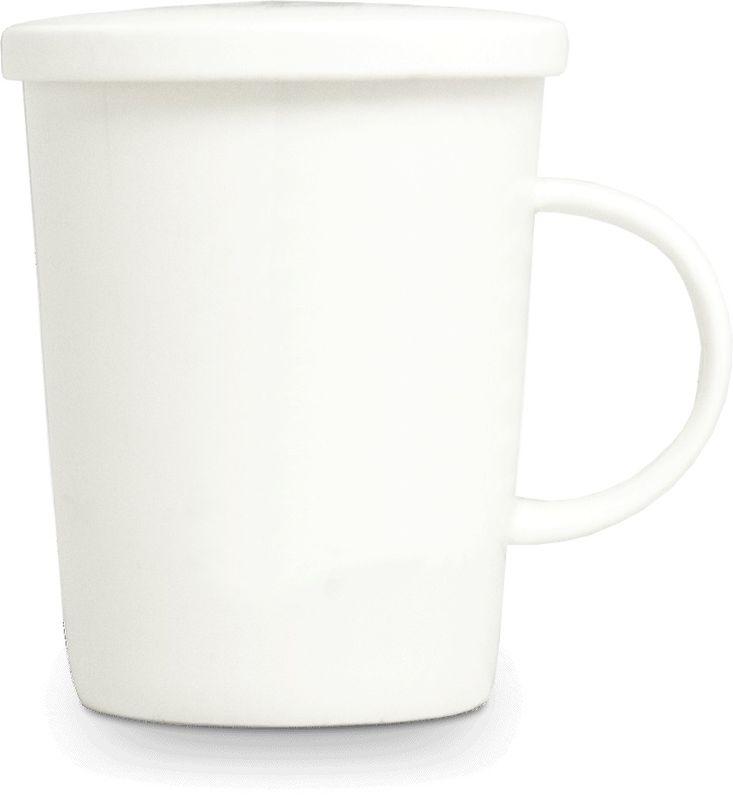 [ WEIß ] chinesisches Porzellan / Teebecher + Sieb & Deckel / Becher / Mug