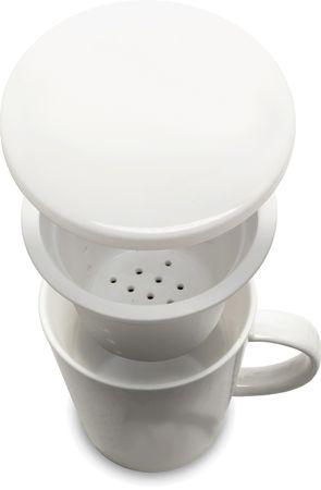 [ WEIß ] chinesisches Porzellan / Teebecher + Sieb & Deckel / Becher / Mug – Bild 2