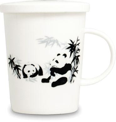 [ PANDA PAAR ] chinesisches Porzellan / Teebecher + Sieb & Deckel / Becher / Mug