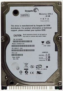 Notebook HDD IDE 40GB Seagate Momentus 4200.2 ST9402112A ID14261