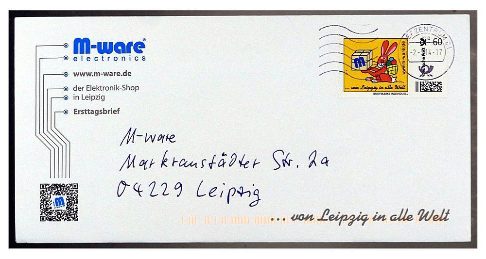 FDC M-ware Leipzig Osterhase 60 Cent gelaufen, von M-ware®. ID14509