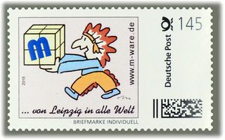 "4 Cartoon-Briefmarken ""Indianer"" á 145ct. Porto, 2015 M-ware® ID15583"